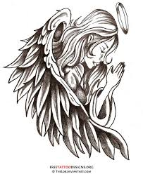 guardian praying angel tattoo design