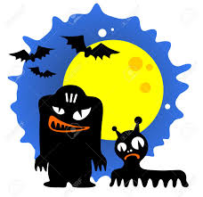 monsters halloween two cartoon halloween monsters and moon on a blue background