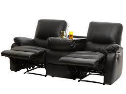 canapé de relaxation canapé 3 places 2 relax manuel bar central cuir gaspard noir