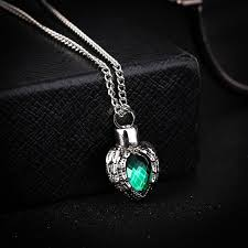 necklaces for ashes from cremation kittenup pet fashion green heart shape alloy cremation