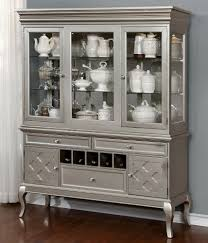 contemporary silver hutch u0026 buffet by furniture of america