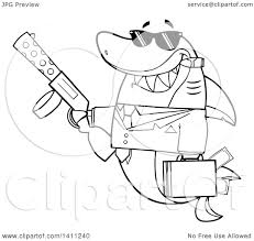 clipart of a cartoon black and white lineart happy shark mascot