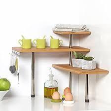 étagère à poser cuisine etagère d angle en bambou et inox cuisine salle de bain ou sur
