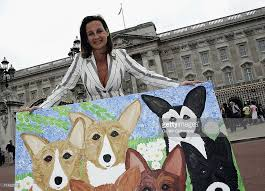 The Queens Corgis Cindy Lass Presents Buckingham Palace With Painting Of The Queen