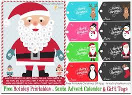 free holiday printable santa advent calendar and gift tags