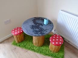 Tree Trunk Table Diy Tree Trunk And Toadstools Table Diy Inspired