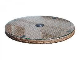 Round Garden Table With Lazy Susan by Individual Oxford Table Brown