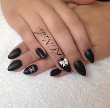 keep it classy solid matte black almond shaped acrylic nails