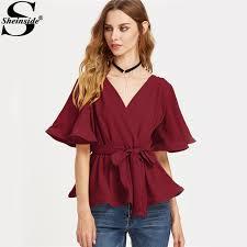belted blouse sheinside surplice wrap tops belted blouse 2017 flutter