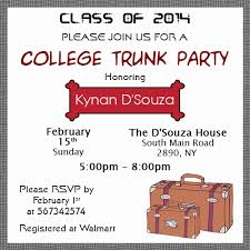 college invitations ideas to throw the college trunk party