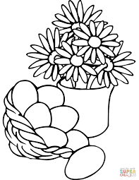 easter basket and vase with flowers coloring page free printable