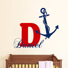 aliexpress com buy custom boy name monogram wall decals boy name aliexpress com buy custom boy name monogram wall decals boy name personalized decal anchor vinyl stickers bedroom decor wall paper a 49 from reliable