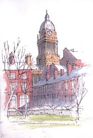 leeds town hall viewed from park square sketch john edwards