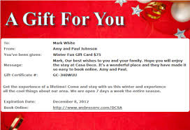 make your own gift card winter 2012 newsletter