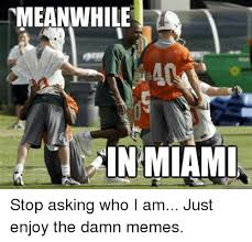 Florida State Memes - meanwhile in miami stop asking who i am just enjoy the damn memes