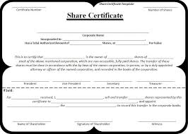 share certificate template free word templates
