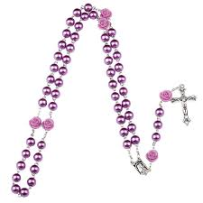 purple rosary 8mm purple rosary catholic rosary necklace for women