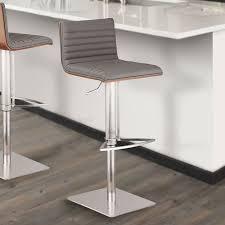cafe adjustable swivel barstool stainless steel gray pu armen