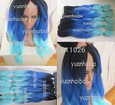 hair color for dark hair to light stock fashion ombre color black dark blue light blue kanekalon