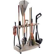 yard tool organizer rack in garden tool storage