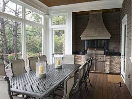 back screened in porch with hooded grill outdoor living