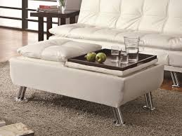 White Leather Storage Ottoman Coaster 300293 Ottoman With Reversible Tray Tops White Faux