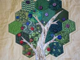 Deko Ideen Hexagon Wabenmuster Modern Modern Wall Hanging Hexagon Applique Tree Quilt 65 00 Via Etsy
