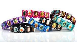 catholic bracelet 100pcs lot mix colors religious jesus saints stretch wooden