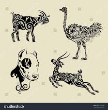 animals floral ornament symbol vector goat stock vector 123706585
