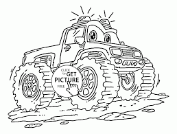 funny monster truck with flashers coloring page for kids