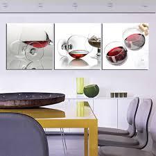 Modern Kitchen Wall Art - 3 pieces hd home decor modern wall oil painting abstract red wine