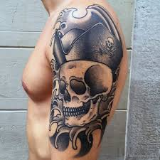 pirate skull half sleeve for