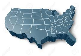 States Of Usa Map by U S A 3d Map Symbol Represented By A Grey Dimensional United