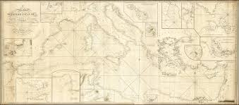 Map Mediterranean Only Known Example Of A Landmark Mediterranean Chart Rare
