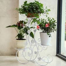arch leaf design 3 tier flower plant stand wrought iron indoor