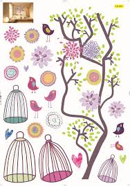 birdcage tree wall sticker flower kids living room birdcage tree wall sticker flower kids living room decor children new cartoon paper free shipping