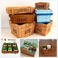 retro style solid wooden box succulent flower bed garden planter