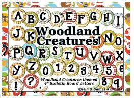 themed letters woodland creatures themed 4 inch circular bulletin board letters
