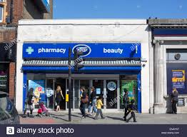 shop boots pharmacy boots chemist pharmacy shop front high stock photo