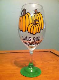 decoration charming halloween pumpkin wine glass hand painted
