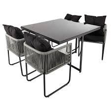 table avec 4 chaises table de jardin avec 4 chaises en résine l 107 maisons du monde
