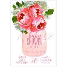 girl baby shower invitations pink floral hydrangea jar baby shower invitations paperstyle