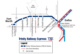 Dallas Ft Worth Map by Trinity Railway Express Map Fort Worth Tx Usa U2022 Mappery