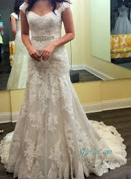 short cap sleeves bridal gowns lovely lace tulle wedding dresses