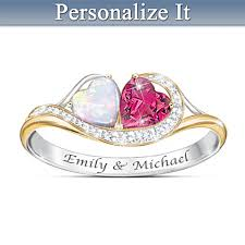 Ring With Name Engraved You U0026 Me Forever Name Engraved Couples Opal And Garnet Ring