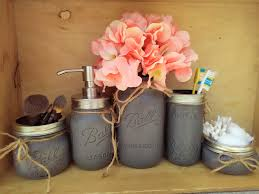 Peach Bathroom Accessories by Mason Jar Bathroom Decor Gray Painted Mason Jar Bath Set