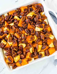 favorite thanksgiving food glazed sweet potatoes with honey and pecans