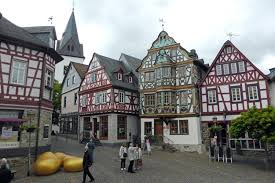 idstein town boasts traditional german architectural style stripes