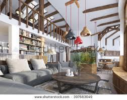 modern livingroom loft style living room stock illustration