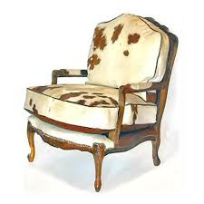 bergere brown and white cowhide chair